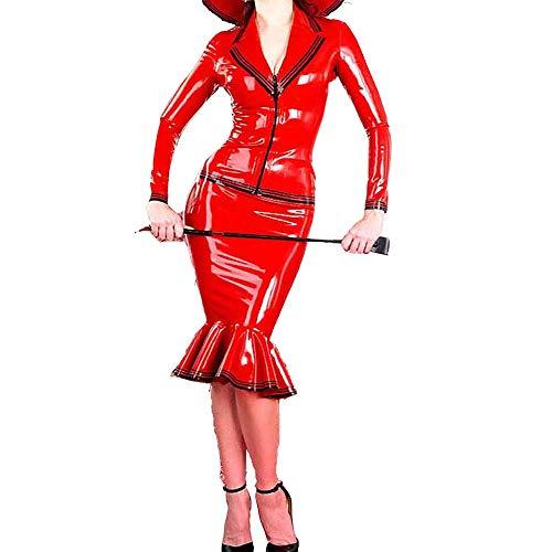 100% latex damen sexy kleid aus Red latex kleidung Zipper SM Maid Cosplay Kostüm sexy Latex anzug