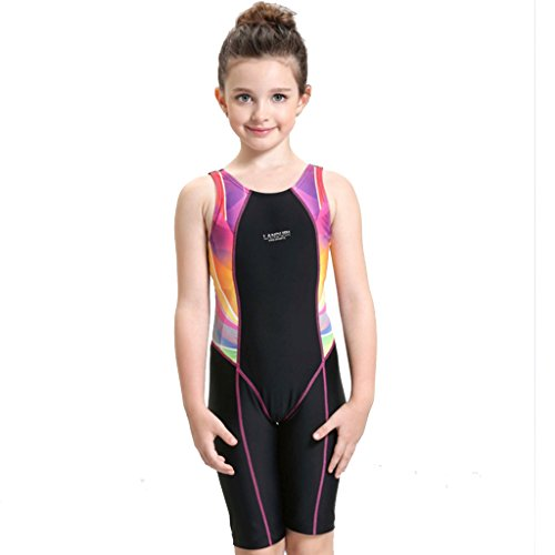 SWIWA Kids Girls Competitive Legsuit One Piece Swimsuit for 2-15 Years Children Open Back Swimwear with Pads