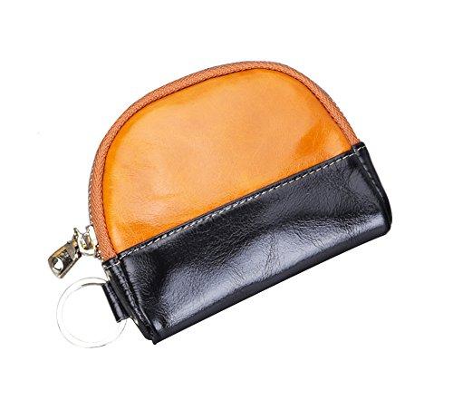 Genda 2Archer Unisex Pelle Porta monete zip Key Card Borsellino del denaro (Giallo) arancia
