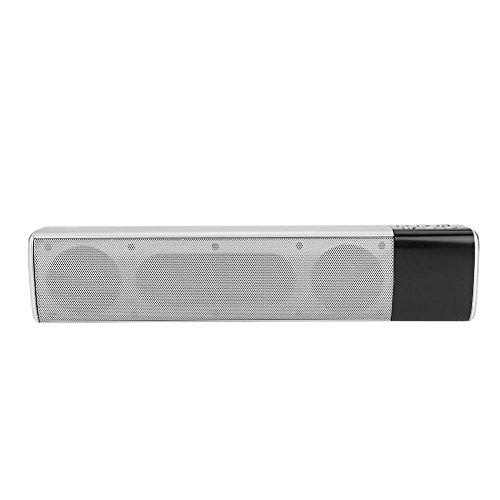 VBESTLIFE HiFi Surround Sound Bluetooth Soundbar,FM Radio TF Musik Soundbar mit Subwoofer,kompatibel mit Handys, Tablet-PCs, Notebooks und Anderen Bluetooth-fähigen Geräten(Silber) (Bluetooth Soundbar Fm)