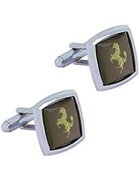 Die Jewelbox Pferd glänzend rhodiniert quadratisch grau gold Manschettenknöpfe Paar für Herren