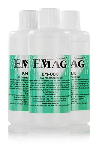 EMAG Ultraschallreiniger Konzentrat – Reinigungskonzentrat für jedes Ultraschallreinigungsgerät, Ultraschallbad – Ultraschall Reiniger für Brillen, Schmuck und Dental (3 x 100ml)