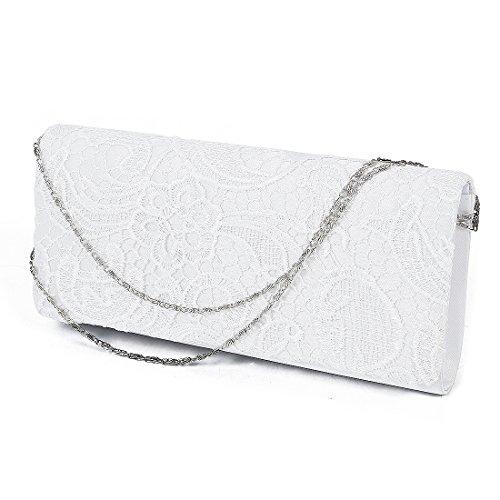 SODIAL(R) Sac Baguette Porte Main epaule Pochette de Soiree Portefeuille en Dentelle Floral Style Besace Mode pour Femme Fille Blanc