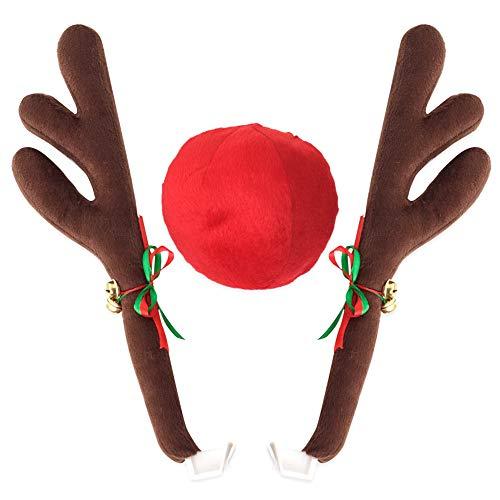 Klinkamz Rentier Geweih Jingle Bells Kostüm Rudolph Auto Weihnachten Deko mit Nase