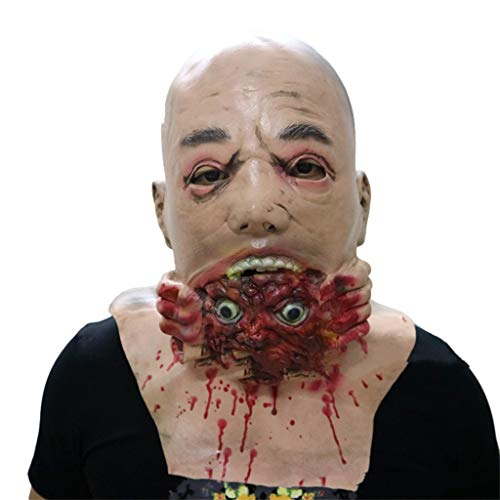 Masken Halloween Latex Kopf Masken, Geister Grimasse Zombie Kostüm Resident Evil Horror Teufel Lustige Maskerade Scary Creepy Fancy Dress (Resident Evil Fancy Dress Kostüm)