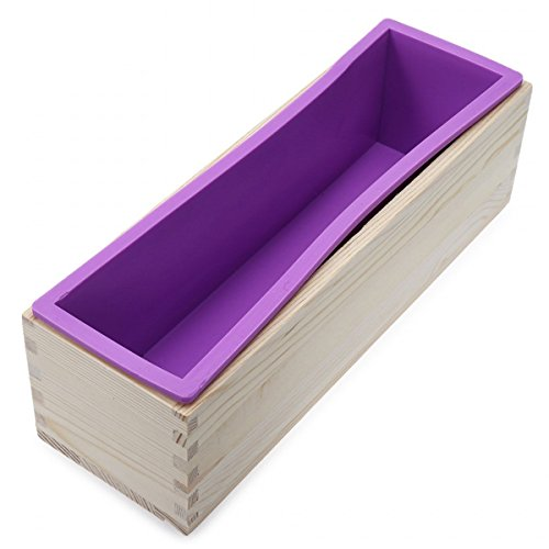 SUNREEK Flexible Rectangular Soap Silicone Mold with Wood Box for Homemade 900g/32oz Soap Making Supplies,Homemade Swirl Cold Process DIY Soap