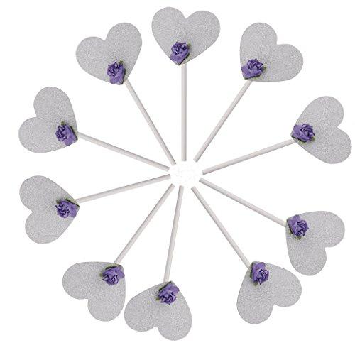 10pcs Herz Aus Papier Reispapier Kuchen Kuchendeckel Für Hochzeit Parteidekor (Herz-hochzeits-kuchen-deckel)