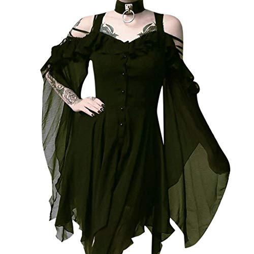 Kostüm Übergröße Viktorianischen - Riou Gothkleid Damen Gothic Kleidung Schwarz Vintage Steampunk Off Shoulder Viktorianische Cocktailkleid Partykleid Cosplay Kostüm Für Fasching Karneval Halloween Weihnachten (XL, grün)