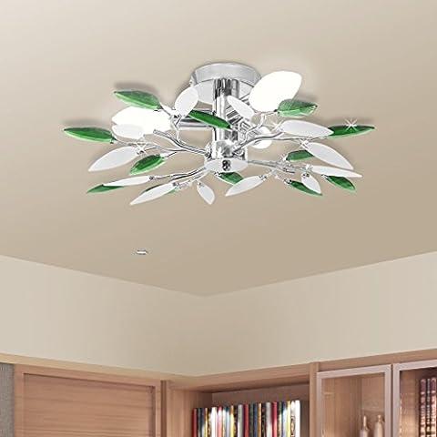 Lampada da soffitto con braccia a foglie bianche e verdi in cristallo acrilico , per 3 lampadine E14