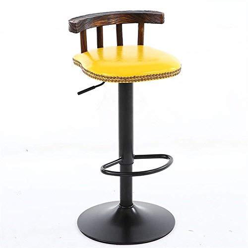 Sedia, bar sgabelli ~ sedile di legno solido retro sede alti sgabelli cucina coffee shop pranzo può sollevare e/giallo pu rotating down - # 3