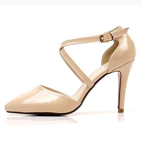 GAGLAI Sandali Donna Primavera Estate Autunno a punta in pelle Sexy Patent Croce Belt Wedding (Patent Alta Heel)