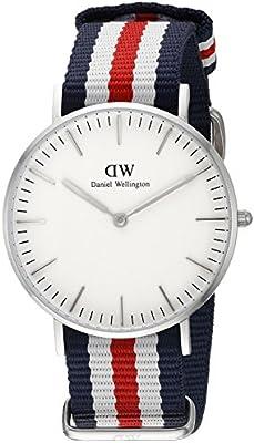 Daniel Wellington - Reloj para mujer con correa de nylon, color blanco / gris