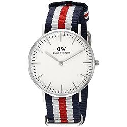 Daniel Wellington - Reloj para mujer con correa de nylon, color blanco/gris