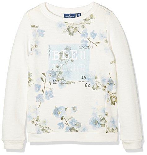TOM TAILOR Kids flower sweater, Felpa Bambina, Avorio (soft clear white), 128