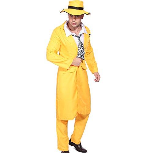 Anladia Halloween The Mask Herren Gangster Kostüm Fasching Gelb Anzug Herren Kostüm Kleid (Jim Carrey Kostüm)