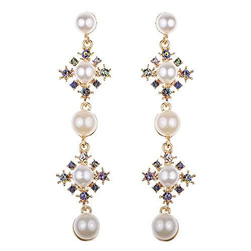 (Metme Frauen Mädchen Party Zubehör Kristall Simulierte Perle Kronleuchter baumeln Floral Form lange Ohrringe 3,9 Zoll)