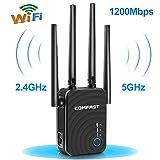 Ripetitore WiFi, 1200Mbps WiFi Extender Dual Band 5GHz 867Mbit/s 2.4GHz 300Mbit/s Amplificatore WiFi Supporto AP/Ripetitore/Router/Client modalità Funzione WPS Raggiungere WiFi Copertura Completa