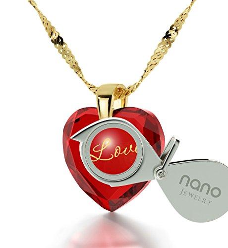 Pendentif Coeur - Bijoux Romantique Plaqué Or avec I Love You inscrit en Or 24ct sur un Zircon Cubique en Forme de Coeur, Chaine en Or Laminé de 45cm - Bijoux Nano Rouge