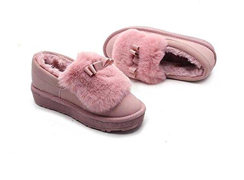 ZZHH Mme bottes de neige chaussures plates ainsi en peluche Pink