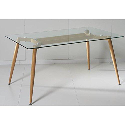 KITKAY Mesa de Comedor de Cristal Templado Transparente de ...