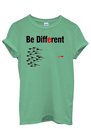 Be Different Sperm Men Women Damen Herren Unisex Top T Shirt Grün