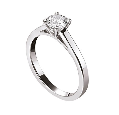 Lilu Jewels 1/2ct. T.W. taglio rotondo Moissanite anello solitario in argento Sterling 925, Argento, 24,5, (Taglio Rotondo Moissanite Solitaire)