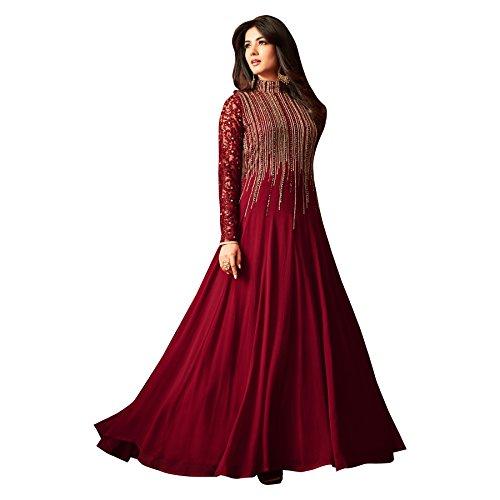 Salwar Soul Georgette maroon Anarkali Suit In Wine Colour (salwar_ER10494_free size_Maroon)