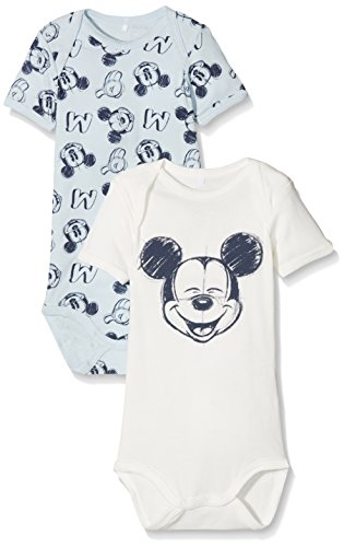 NAME IT Baby-Jungen Nmmmickey Bert SS Body Wdi Noos, 2er Pack, Mehrfarbig (Baby Blue), 92