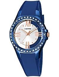 Calypso–Reloj de cuarzo para mujer con correa de plástico de plata esfera analógica pantalla y azul K5680/5
