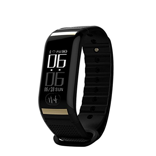 Herzfrequenz Fitness Smart Tracker Armbanduhr, Y56Bluetooth 4.0OLED heart-rate Übung Schritt Kalorien Bewegung Smart Watch mit Sleep Monitoring/CALL Alert/Blut Druck/EKG-Test/Remote Kamera, schwarz
