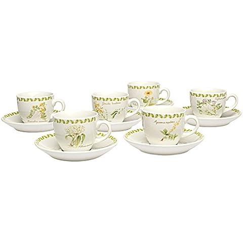Tognana, Set di tazzine da caffè con bricco latte, modello Iris Botanical, 6 pz., Bianco (White)