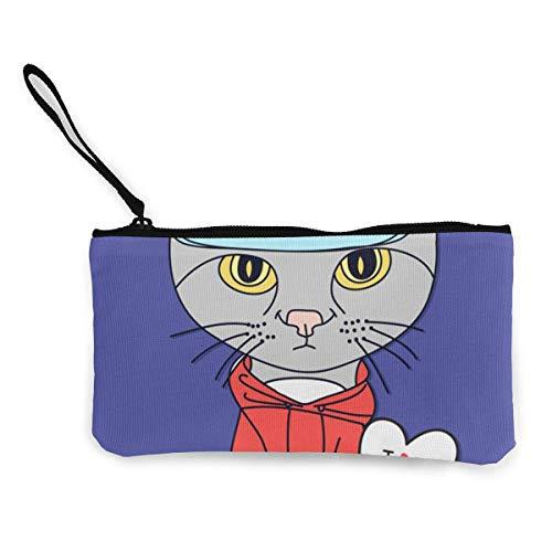 Unisex-Geldbörse, Kitty Cute Canvas Change Geldbörse, Schminktasche, Handytasche with Handle Wallet Bag Change Pouch -