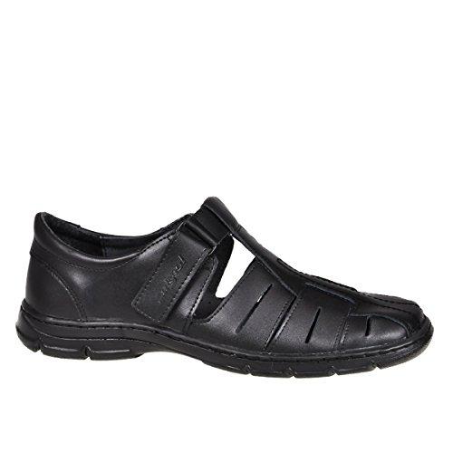 Sandali da uomo in vera pelle di bufalo calzature scarpe ortopediche comode anti-shock 1062 (nero, 42 eu)