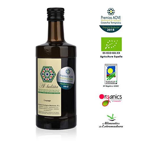 Aceite de Oliva Virgen Extra Premium, Ecológico y Orgánico | AOVE Gourmet de extracción en frío. Cosecha temprana de Arbequina y Morisca | Botella de 500ml y acidez 0,14º| Producto Bio de Extremadura