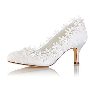 b5b6adbf5bd68 Emily Bridal Vintage Wedding Shoes Ivory Round Toe Pearls Flowers ...