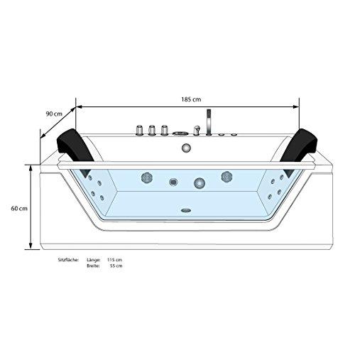 AcquaVapore Whirlpool Pool Badewanne Wanne A1813NA mit Reinigungsfunktion 90x185, Selfclean:aktive Schlauch-Reinigung +70.-EUR - 5