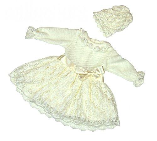BIMARO Baby Mädchen Taufkleid Ruby Babykleid creme beige Kleid festlich Set Strick Häkellook Mütze Hochzeit Taufe , Größe:74