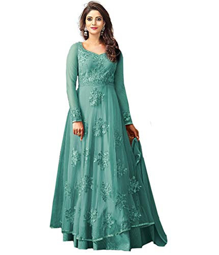 Clothfab Women\'s Net Embroidered Bridal Party Wear Anarkali Salwar Suit Dress Material (Sky Blue Color_Free Size)