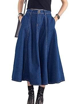 Falda Vaquera Mujer Falda de Mezclilla Faldas Plisada Largas de Fiesta