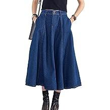 d3b8c67ad ZhuiKun Falda Vaquera Mujer Falda de Mezclilla Faldas Plisada Largas de  Fiesta