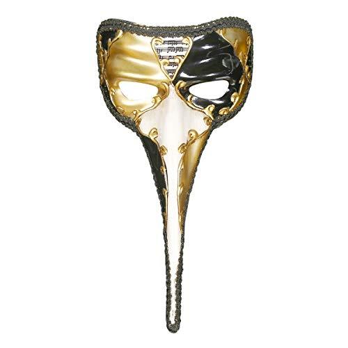 lloween Masque Entier Personne Longue Nez Long Masque Peint À La Main,Gold ()
