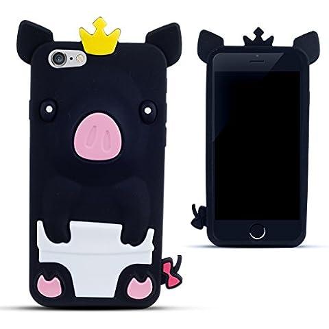 Zooky® Negro silicona cerdo FUNDA / CARCASA / COVER para Apple iPhone 6 (NO iPhone 6 Plus)