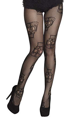 (costumebakery - Kostüm Accessoires Zubehör Fischnetz Strumpfhose mit Totenkopf Skelett Druck, Fishnet Panty with Skeleton Skulls, perfekt für Halloween Karneval und Fasching, Schwarz)