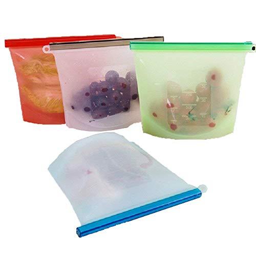 Azul Bolsa de Silicona Reutilizable de 1000 ML AOLVO 1.000 ML Calor Bolsa de Almacenamiento de Alimentos para congelar Frutas Leche y Verduras Vapor microondas