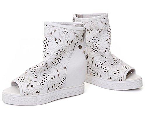 Schuhe Sommer neue erste Schicht aus Leder der Fisch Mund Steigungen mit Sandalen zufällige Weiß