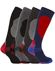 4 Pairs of Mens High Performance Thermal Ski Socks Multi 6-11