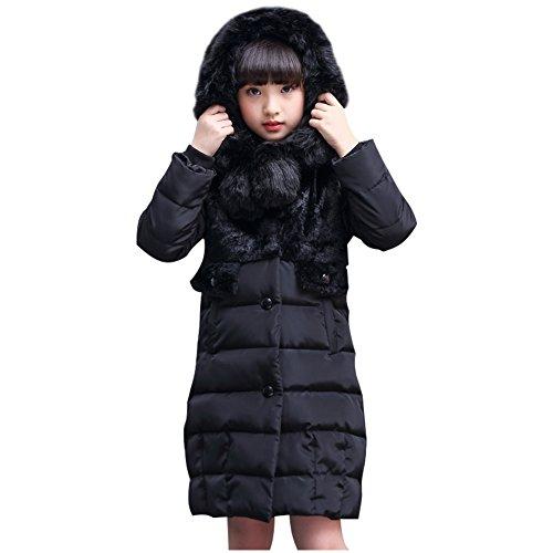 LSERVER-Daunenjacke Kinder Jungen Mädchen Winterjacke mit Fellkapuze, Langen Stil Baumwolle Mode Mantel Daunenmantel mit Kapuze