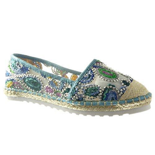 Angkorly Women's Fashion Shoes Espadrilles Mocassins - Flowers - Cord Wedge 2 cm - Blue W392 T 39 - UK 6