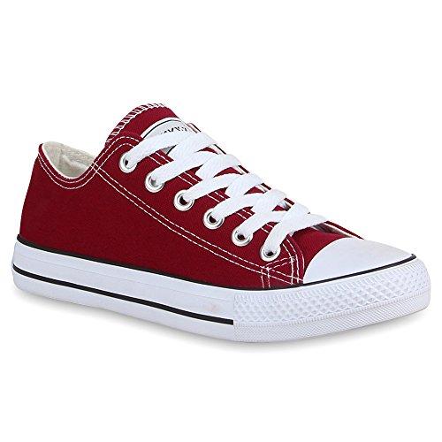 Damen Schuhe Sneakers | Turnschuhe Freizeitschuhe | Low Sneaker | Übergrößen | Prints Glitzer Denim Dunkelrot