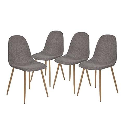 Aingoo Arbeitsstuhl Küchenstühle Wohnzimmerstuhl küchenstuhl Esszimmerstuhl Bürostuhl Polsterstuhl Sitzgruppe Essgruppe Stuhlgruppe Ergonomische Stuhl In Grau, Solide Elegante Stühle, Belastbarkeit 120kg, 4 er Set